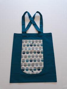 Totebag bleu avec des chouettes