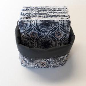 lingettes démaquillantes lavables motifs gris foncé