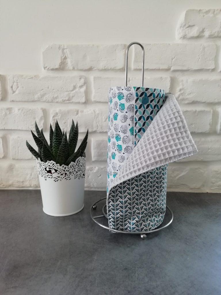 Essuie-tout lavable avec trois motifs bleus